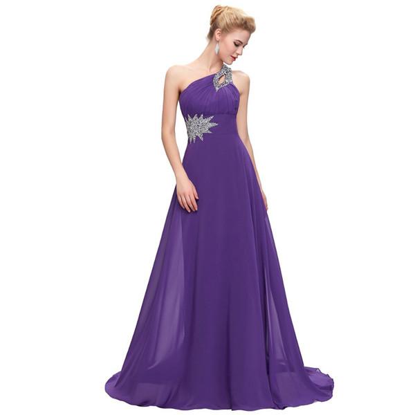 Perline Abiti da damigella d'onore una spalla Blu viola bordeaux` Abito da sera lungo in chiffon 2019 Nuovi abiti da ballo Elegante