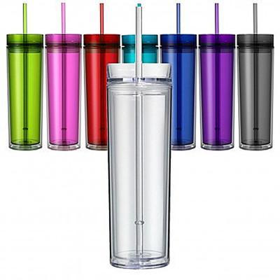 Классический прозрачный акриловый тощий стакан на 16 унций Изолированный пластиковый стакан с двойной стенкой с многоразовой крышкой и соломой