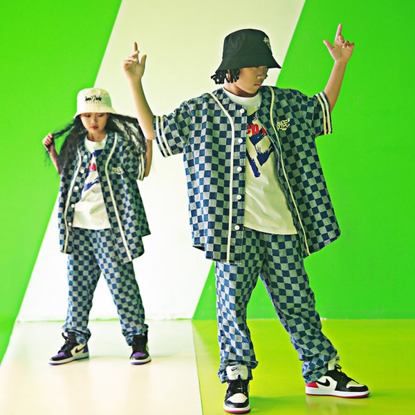 Kid Hip Hop Clothing Plaid Shirt Pants Suit For Girls Boy Jazz Dance Costume Ballroom Dancing Clothes Wear Stage Costume DQS1543