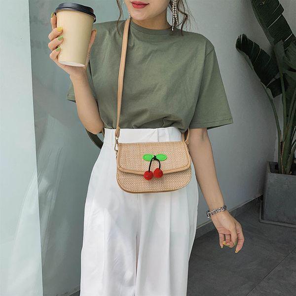 High Capacity Women Corduroy Tote Bag Women Bag Simple Woven Straw Crossbody Cherry Shoulder Small Square 25