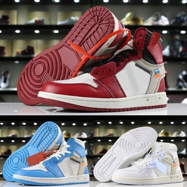 Nike Air Jordan 1 x Off white blanc Chaussures de basket-ball Hommes garçons femmes filles Chicago UNC poudre bleu blanc Designer Chaussures Sneakers US 5.5-12