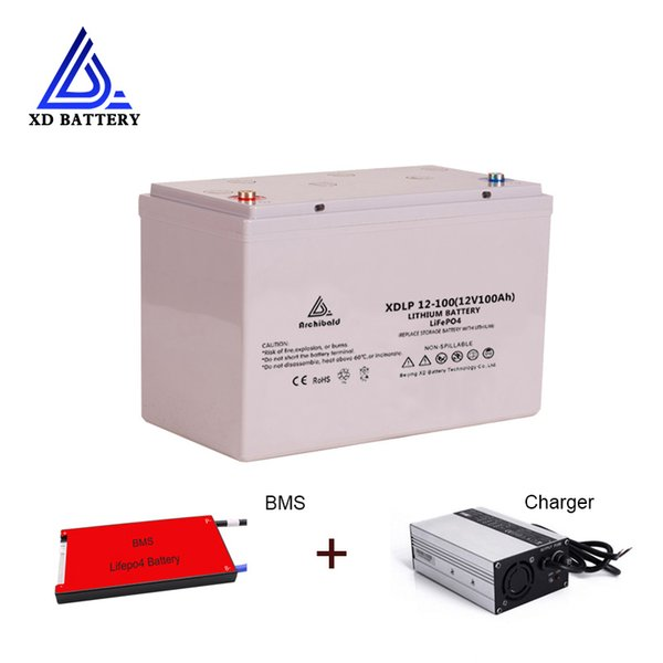 Литий-ионный LiFePO4 12v 100ah аккумуляторная батарея Акку для электрического велосипеда / скутера / лодки с BMS и Bluetooth