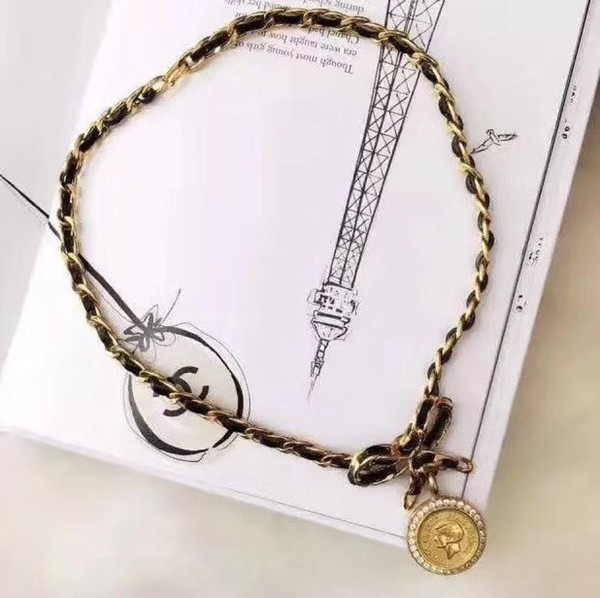 Women's jewelry 2019 early summer new fashion silver plated gold belt chain necklace classic