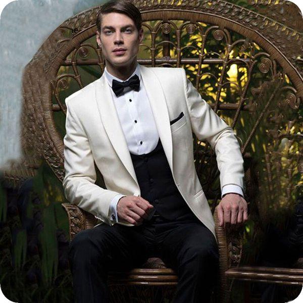 Выполненная на заказ Ivory Свадебные Грум Tuxedo Мужские костюмы для брака шаль лацкане Человек Blazer черный жилет 3шт Последние Coat Pant Дизайн костюма Homme