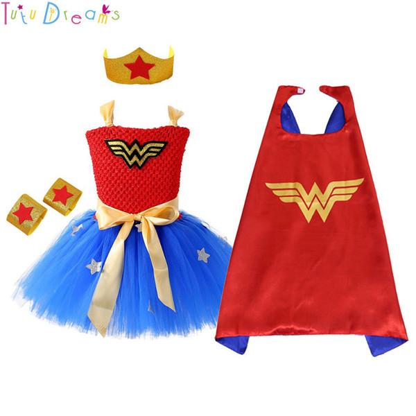 1 Set Wonder Woman Girl Tutu Dress Brave Super Girls Supereroe Tema Eroe Festa di compleanno Abiti Costume di Halloween Per Bambini J190426