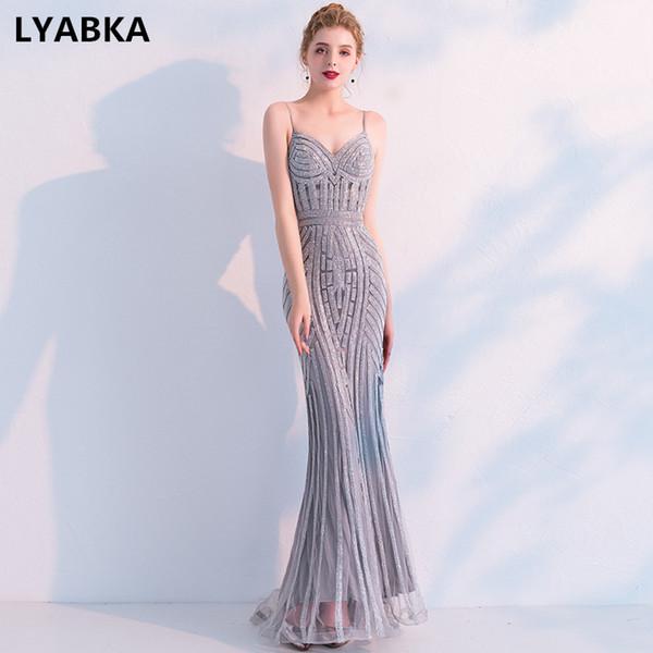 Nueva moda sexy cariño vestido de noche 2019 nuevo robe de soiree vestido de fiesta gris sirena vestidos de noche vestido largo vestido