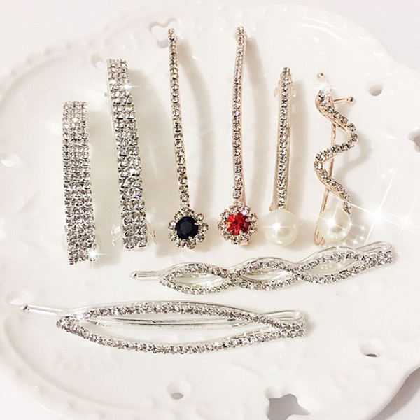 1pc genenic korean women girls shinning crystal rhinestone pearl barrettes hairpins hair clip hair accessorie nice gift