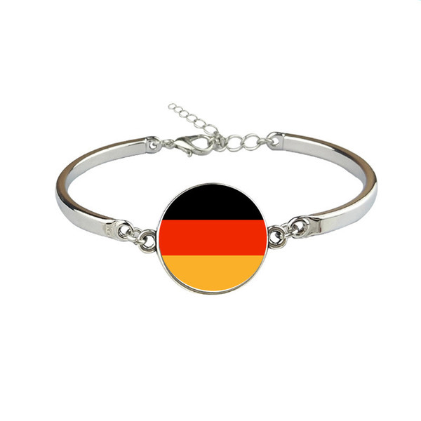 Men Women Germany National Flag World Cup Football Fan Time Gem Glass Cabochon Button Charm Jewelry Link Chains Cuff Bracelet Gift Wholesale