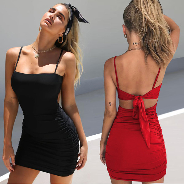 Sexy Lace Up Backless Dress Sleeveless Strappy Dress Shoulder Straps Dresses Mini Skirt Fashion Women Clothes