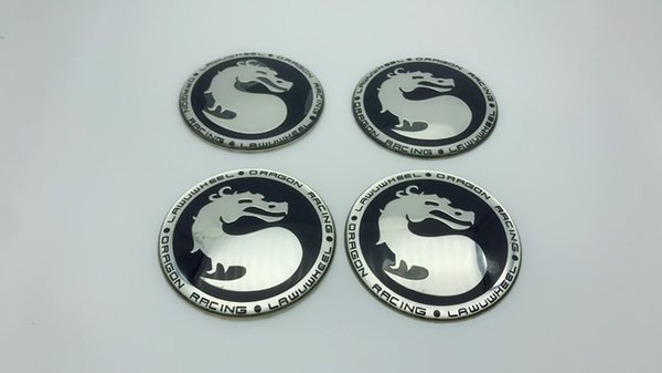 4Pcs 65mm dragon wheel center cover emblem sticker badge cap hub steering Black/Silver