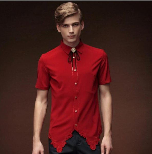 2019 M-5XL Brand New Large men's short sleeve shirt embroidered red Hair Stylist Stage costume Nightclub