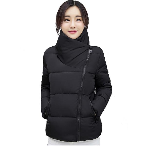 Down Jacket Parka Femme Collar Stand Short Winter Jacket Women Solid Color Cotton Winter Autumn Female Coat Parkas Solid Casaco Inveno