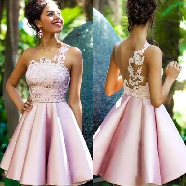 2020 Dorable Dusky Pink Satin Short Homecoming Dresses Appliques Cocktail Party Gowns Sheer Back Prom Formal Dress vestidos de fiesta