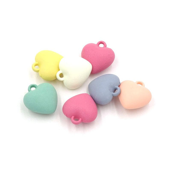 100PCS Colorful Cute Heart Charms Pendants 16mm Earring Parts Diy Kids Jewelry Craft Findings Accessories AGP-110