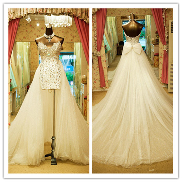 New Luxury sweetheart High-Low wedding dresses beaded sleeveless column tulle sweep train lace-up bow bridal dresses wedding gowns 3777