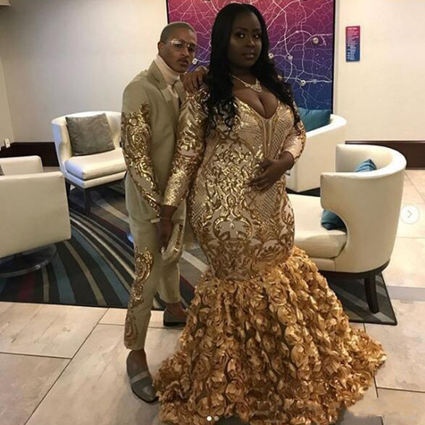 Gold Black Girls Plus Size Prom Dresses 2019 V Neck Sequin Applique Long  Sleeves Rose Floral Skirt Special Occasion Gowns Long White Prom Dresses ...