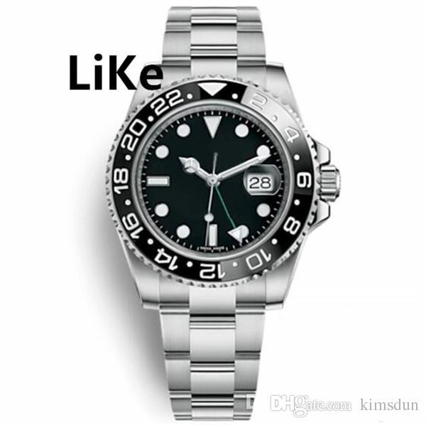 7 Glide Lock Strap GMT Watches Mens Automatic Mechanical Black Watch Sweeping Movement Adjustable Clasp Clock Date Model Watches Coupon Gift