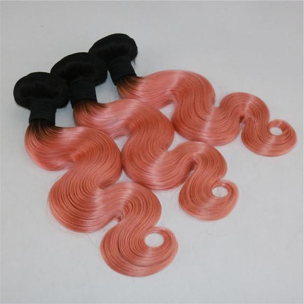 Ombre Corps Vague Cheveux Humains Tisse Deux Tons 3 Faisceaux Extensions De Cheveux Tissage De Cheveux Rose Tige Roots Brésiliens Vierges Bundles