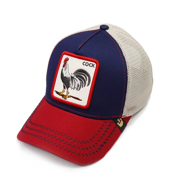Fashion Cock Mesh Hats Luxury Embroidery Rooster Animals Baseball Caps Summer Outdoor Sun Hat Mens Golf Ball Cap Women Visor