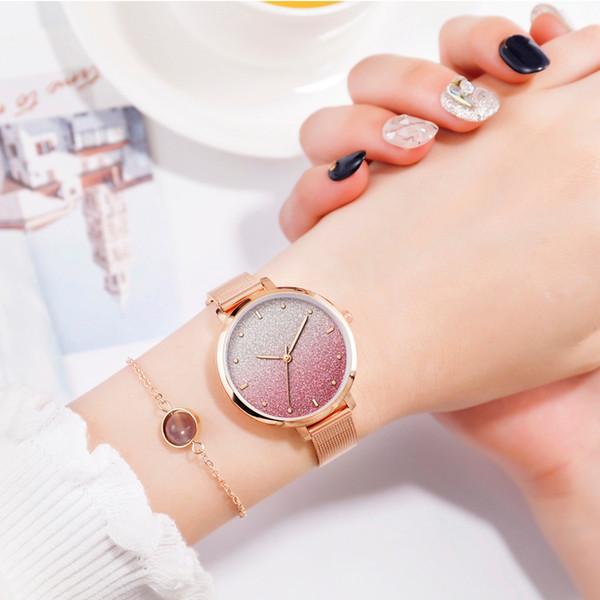 Горячая Мода Простые Женские Часы Градиент Цвета Прохладный Матовый Циферблат Женщины Кварцевые Наручные Часы Металлический Сетка Браслет Часы Часы AD