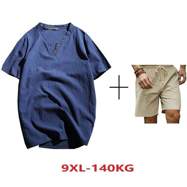 Mferlier Plus Size Big Large 7xl 8xl 9xl Men Cotton Linen T-shirts Summer V-neck Short Sleeve Tshirt Loose China Style 50 52 54 Y190507