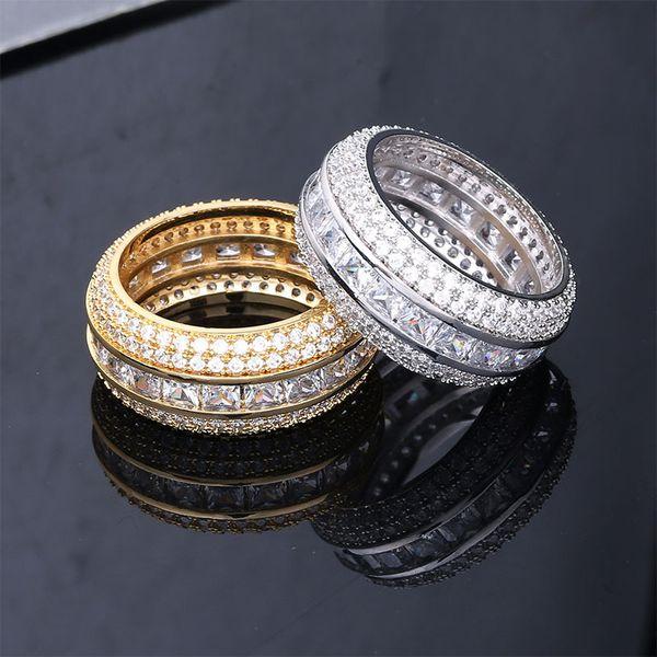 Hommes fiançailles bagues de mariage mens bague glacée bague or argent amour bague bague en diamant Designer de luxe Bagues Bijoux accessoires de mode homme