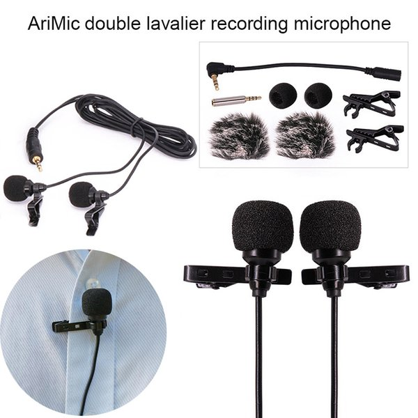 Dual-Head Interview Video Recording Microphone Lapel Condenser Mic for iPhone Canon DSLR LCC77