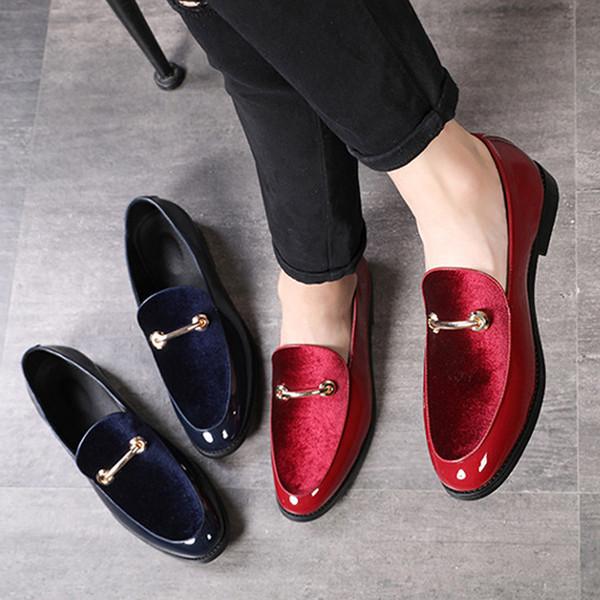 M-anxiu Tamaño más grande 37-48 más nuevos hombres Mocasines brillantes Zapatos de gamuza Nueva tendencia Metal Diseño Moda Estilo británico Zapatos casuales masculinos