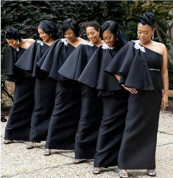 Black Bridesmaid Dresses 2019 One Shoulder Floor Length South Africa Junior Maid of Honor Country Wedding Guest Gowns