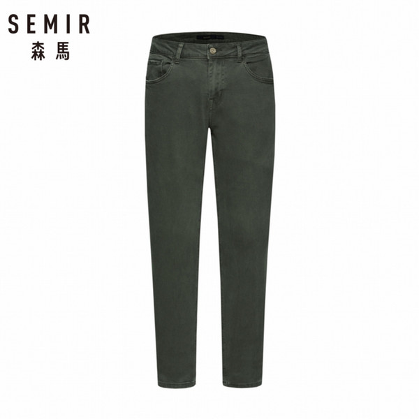 SEMIR Men Skinny Jeans in Washed Denim with Side Pocket Men's Slim Fit Cotton Jeans with Zip  Button in Retro Style
