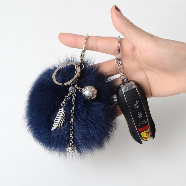 Behaarte Kugel Tasche Anhänger Plüsch Nettes Weibliches Auto Keychain Koreanische Kreative Fuchspelz Gras Handy Anhänger Schlüsselanhänger Pelz Schlüsselanhänger
