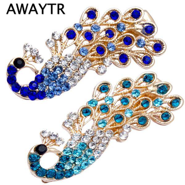 4.5*2cm 1Pcs Crystal Peacock Diamond Hairpins 2019 Barrette Rhinestones Side Bangs Clip Women Girls Hair Accessories Clips