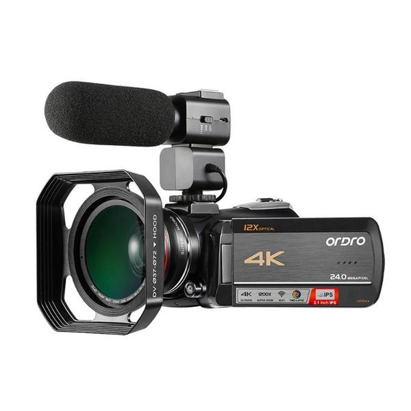 Ordro AC5 12X Optischer Zoom 24MP Kamera + Gegenlichtblende + Weitwinkelobjektiv + Mikrofon