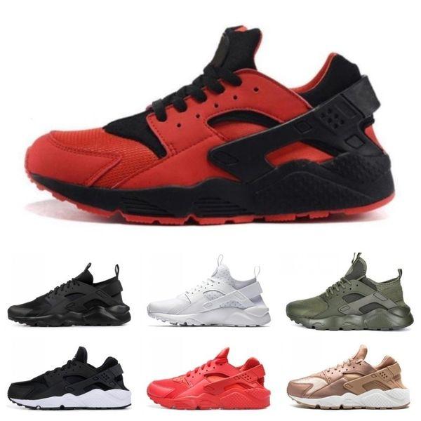 Klasik Huarache çalıştırmak ayakkabı 4 1.0 Üçlü siyah beyaz kırmızı Koşu Ayakkabı erkekler Kadınlar Huaraches kırmızı gri spor ayakkabı ücretsiz nakliye spor ayakkabısı