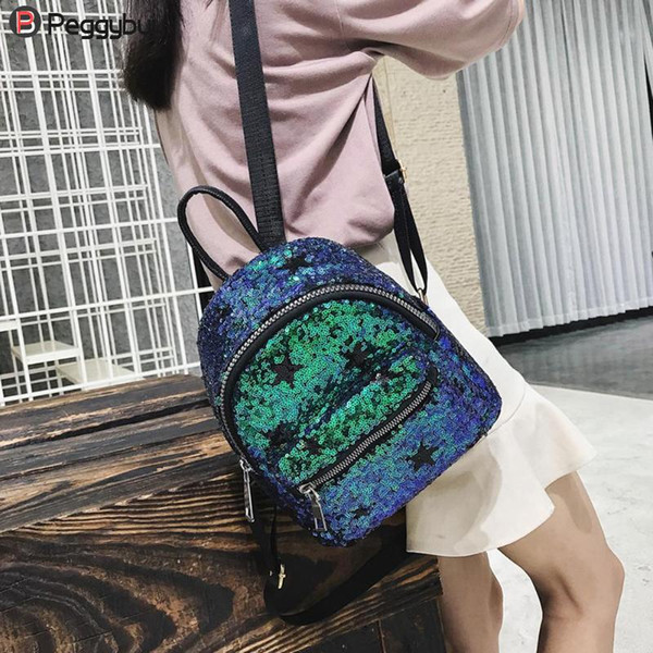Fashion Leather Backpack Preppy Style Shiny Sequins Star Student Women Mini Backpack