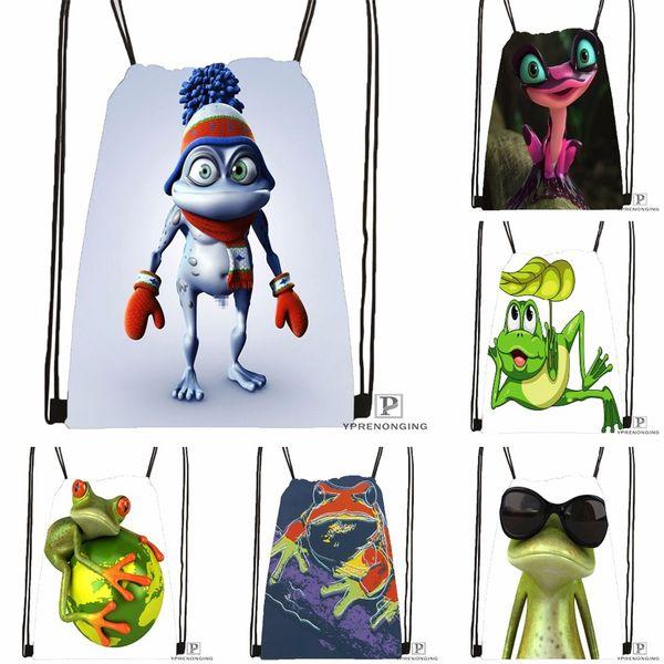 Custom The Frog Kindoom Drawstring Backpack Bag Cute Daypack Kids Satchel (Black Back) 31x40cm#180531-04-75 #512723