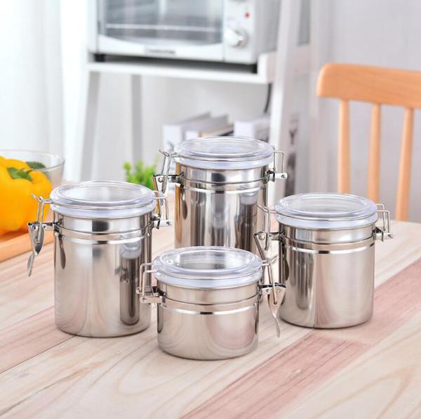 8 Größen 4inches 5inches Wählen Sie Edelstahl Moisture Tank MoistureProof Jar Tabak Lebensmittel Tee Kaffee Aufbewahrungskoffer Dosen für die Küche Hot