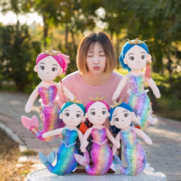 Lovely Mermaid Plush Toys Princess Crown Grab Doll Realista Sea World New Pattern Dolls Niños Regalo de cumpleaños 31zx3 N1
