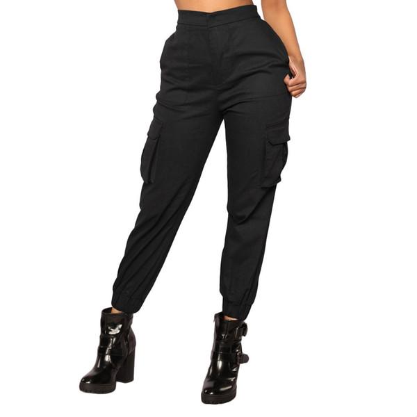 Pantaloni a vita alta Nuovi pantaloni sportivi allentati donna army harem camo pantaloni streetwear punk nero cargo pantaloni donna pantaloni capris