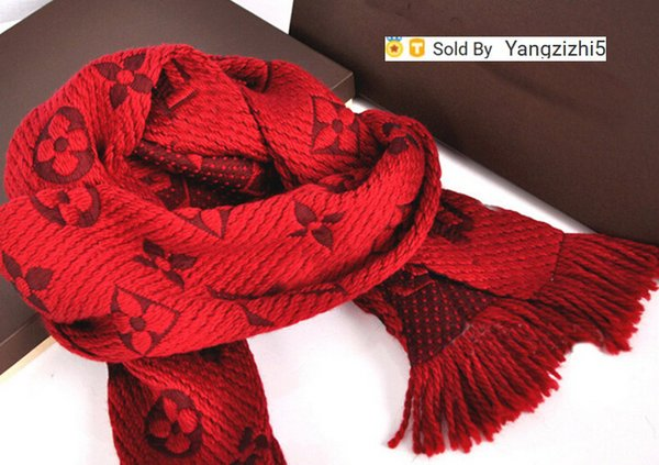 regali di Natale di qualità elevata di stampa della lettera delle lane del cachemire di lana scialle sciarpa di filo avvolto inverno M72432 lungo nappa sciarpe 180 * 35cm rosso