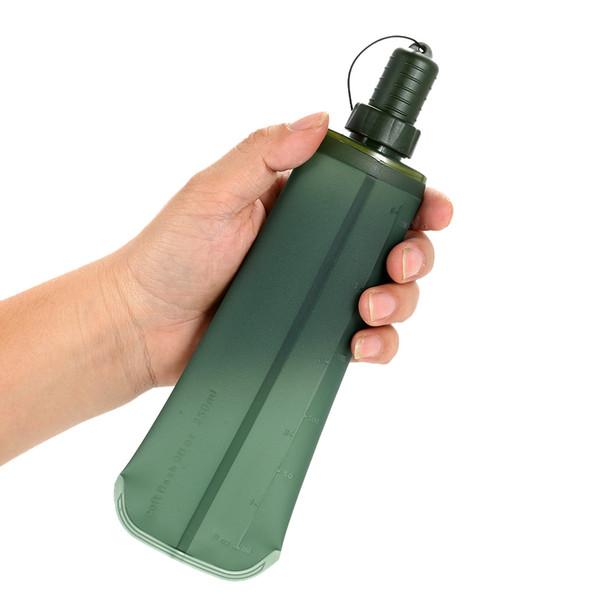 250 ml 500 ml TPU Deporte exterior Botella plegable Plegable Suave Bebida Botella de agua para correr Camping Senderismo Bicicleta Fitness Bolsa de agua