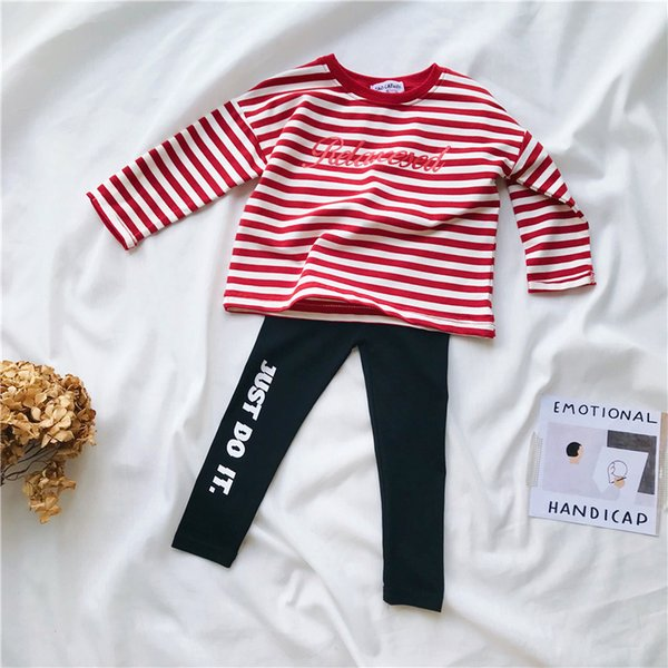 2pcs spring autumn boys girls clothing set kids striped long sleeve red black t shirt and pant set baby casual clothes children