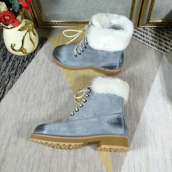 Snow Boots Lace-Up VGG Vintage Platform Square Heels Fur Shoes Casual Lady Boots with Origin Box Botas Mujer Warm Fur Plush Design Winter