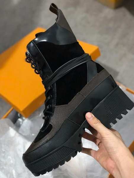 f7062430b57 Luxury Designer Boots Women Desert Boot Chunky Heel Martin Shoes Print  Leather Platform Desert Lace Up Boot 5cm With Box A2 Shoes Uk Pumps Shoes  From ...