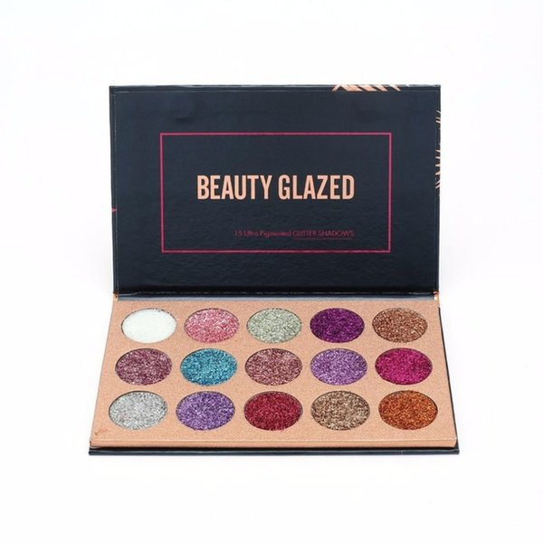 DHL Free BEAUTY GLAZED 15 Color Pressed Glitters Eyeshadow Palette Professional Long Lasting Glitter Magnet Palette Diamond Hot Cosmetic