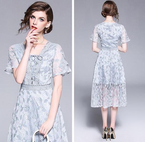 Elegante Temperamento Cordón de gama alta de las mujeres Vestido largo manga corta con cuello en v Delgadez en la cintura vestido de moda top de vuelta