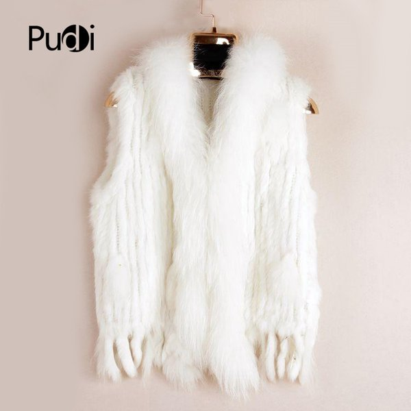 Vr001 Free Shipping Womens Natural Real Vest With Raccoon Fur Collar Waistcoat/jackets Rex Rabbit Knitted WinterMX190821