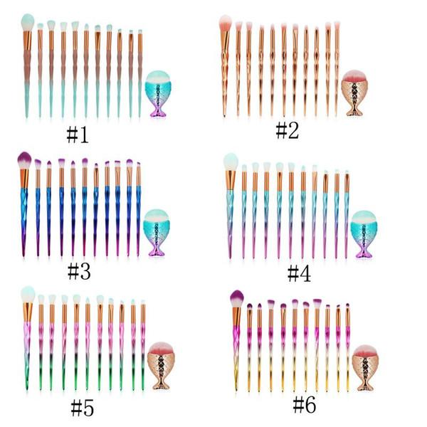 MAANGE 12PCS Алмазные ручки кисти для макияжа и Mermaid Foundation Brush Set Макияж Кисти Set Professional Foundation Румяна Тени для век