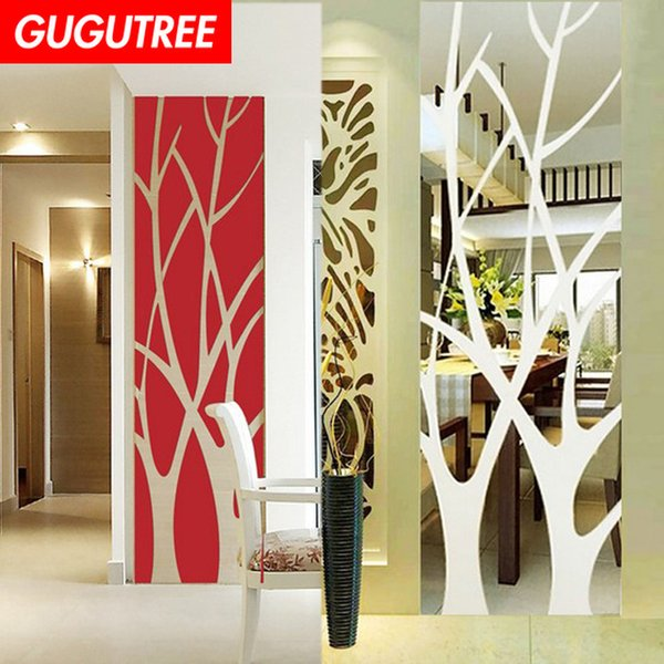 Decorate Home 3D trees leaf cartoon mirror art wall sticker decoration Decals mural painting Removable Decor Wallpaper G-338