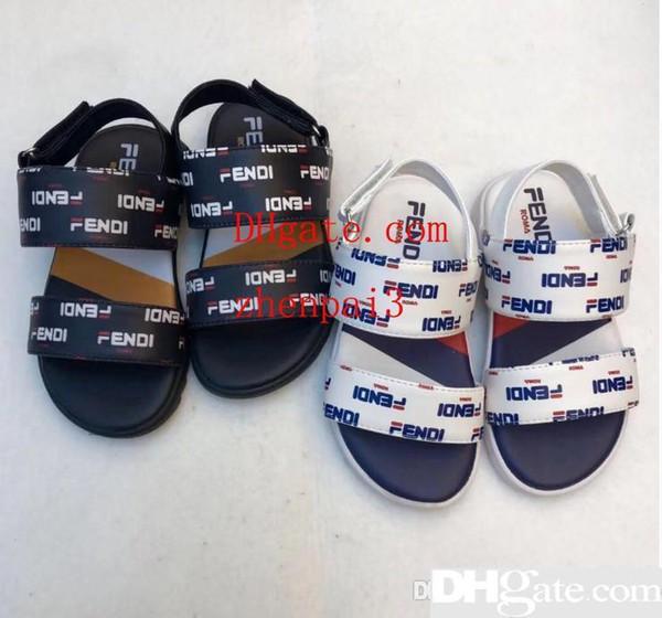 Sandales à semelles plates en cuir pour nouveaux enfants en Europe et en Amérique 2019 Pantoufles d'extérieur pour garçons et filles QT1904189
